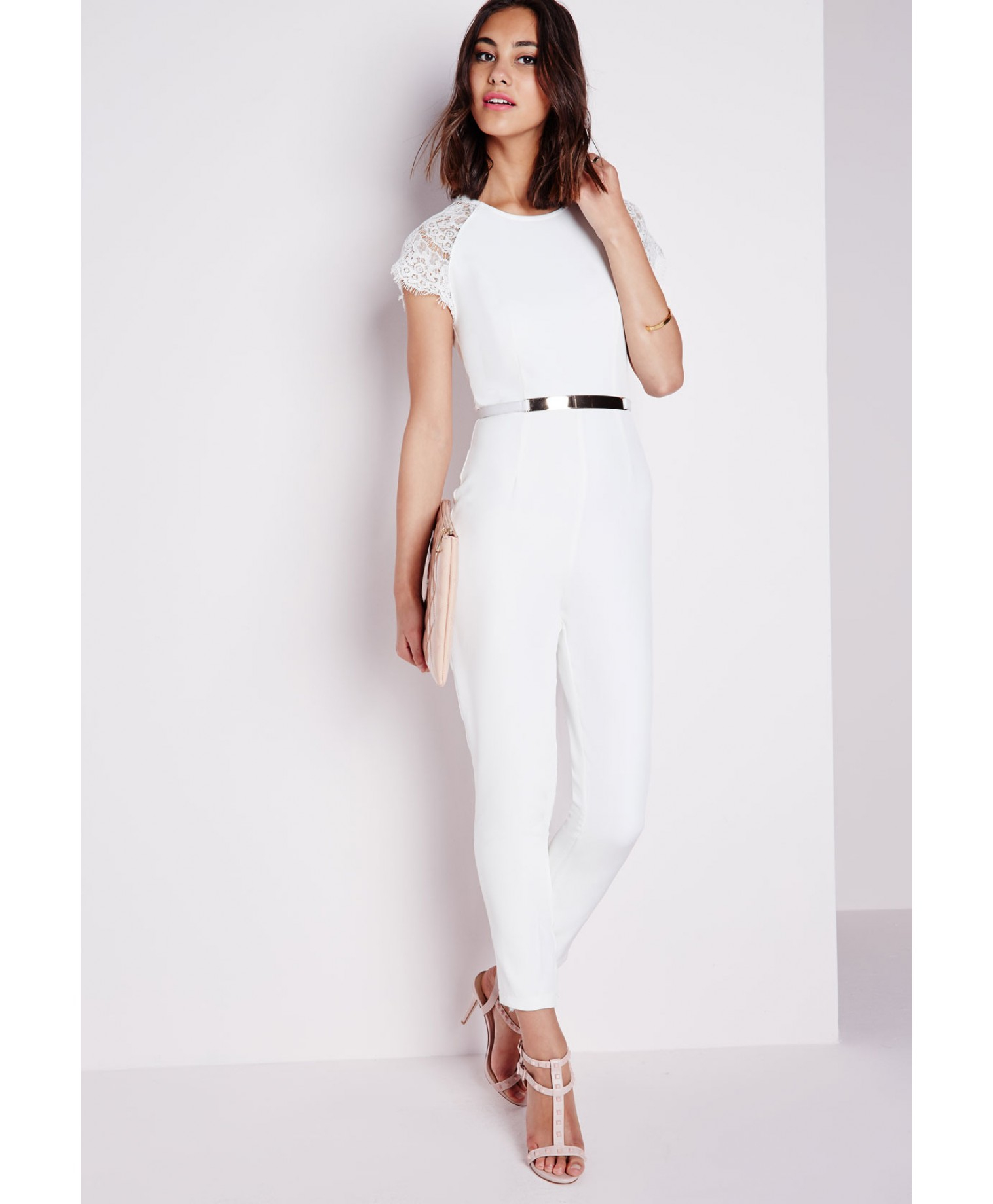 Missguided Lace Cap Sleeve Jumpsuit Ivory In White Ivory