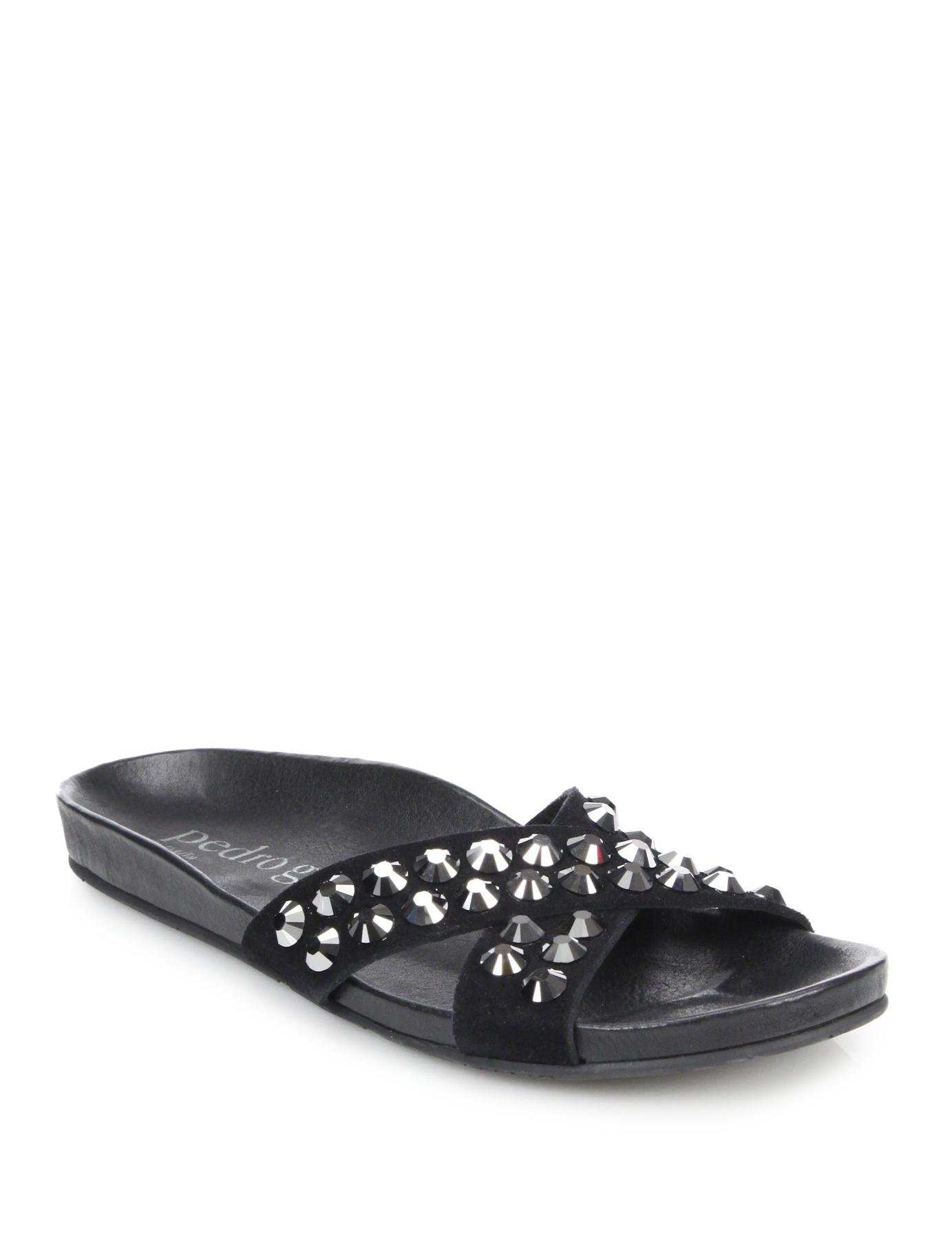 Lyst Pedro Garcia Analis Studded Suede Slide Sandals In