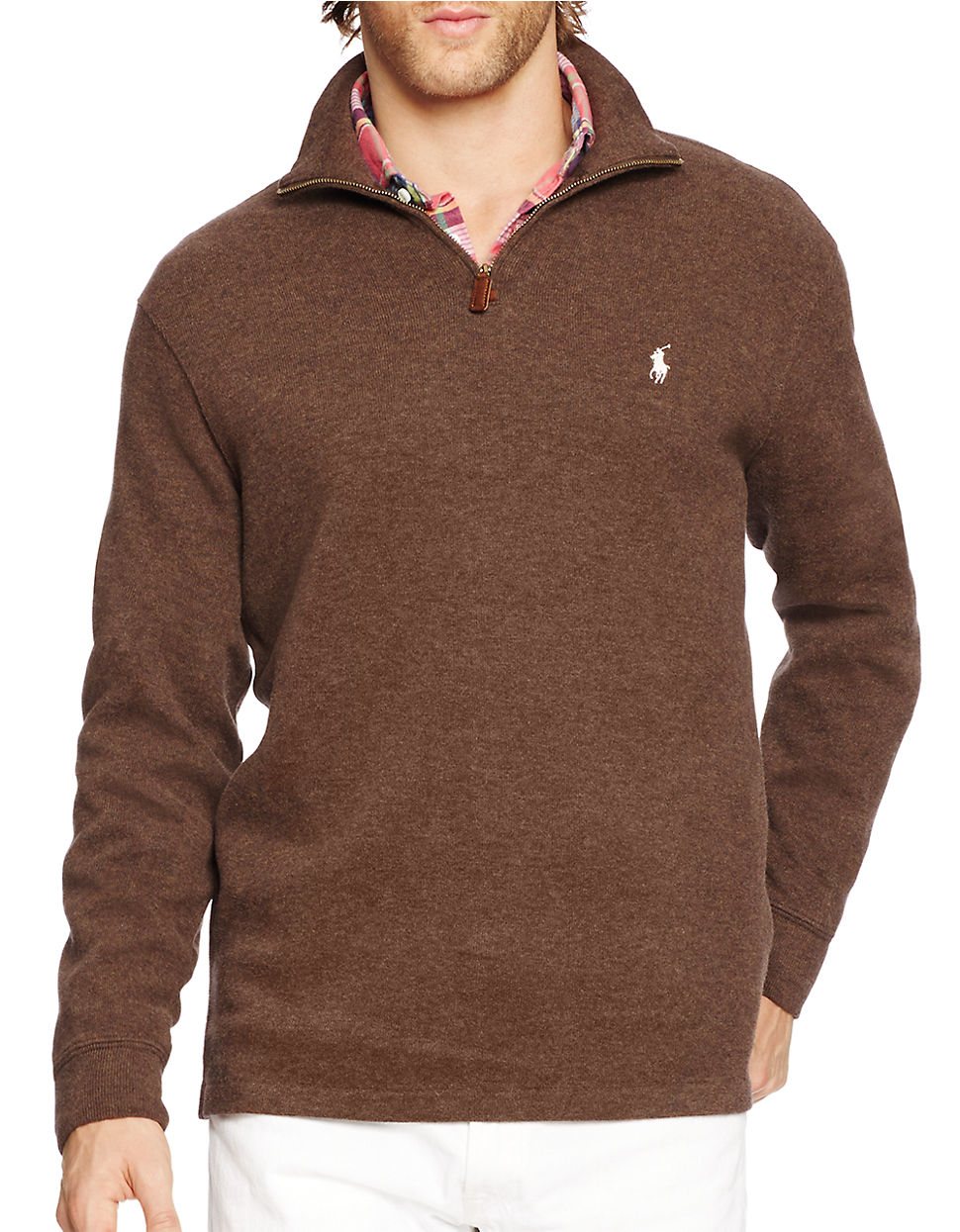 polo ralph lauren french rib half zip pullover in brown for men lyst. Black Bedroom Furniture Sets. Home Design Ideas