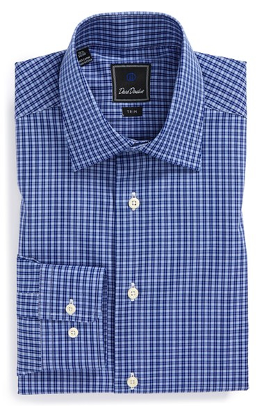 David Donahue Trim Fit Check Dress Shirt In Blue For Men