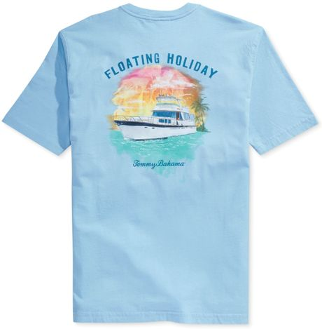 Tommy bahama floating holiday tshirt in blue for men for Tommy bahama christmas shirt 2014