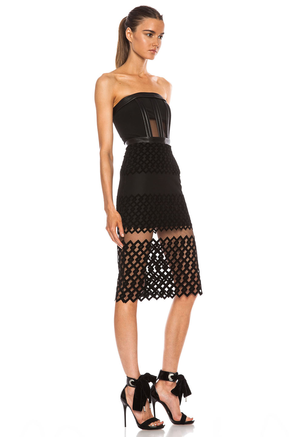 Lyst David Koma Strapless Poly Dress With Flocked Hem In