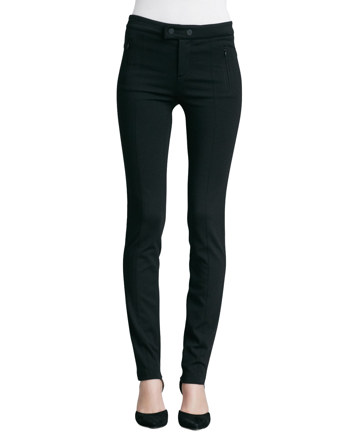 black suit pants featuring wool stretch fabric, multiple pockets and a sleek, ultra slim tailored fit.