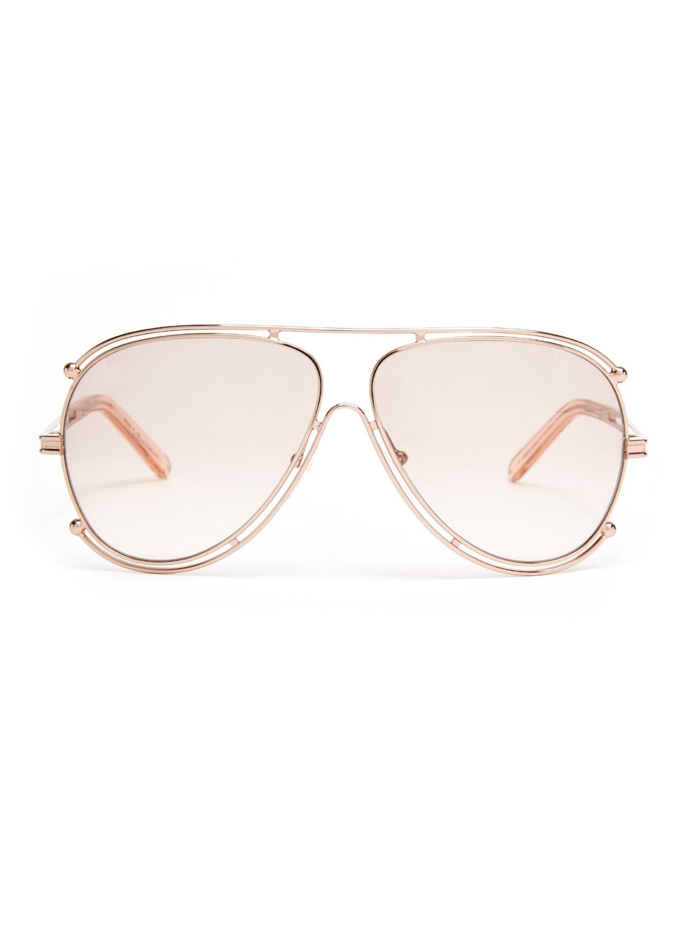 fc3259728cc Chloé Isidora Aviator Sunglasses in Pink - Lyst