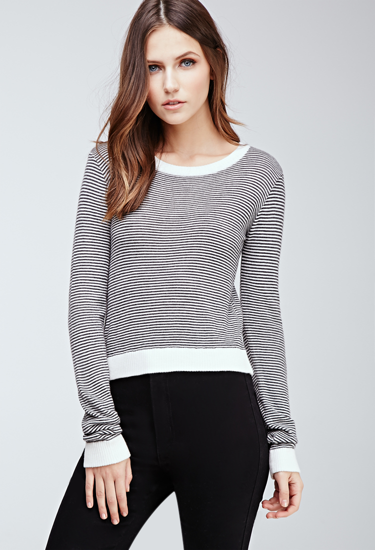 Forever 21 Synthetic Cropped Stripe Sweater in Gray - Lyst