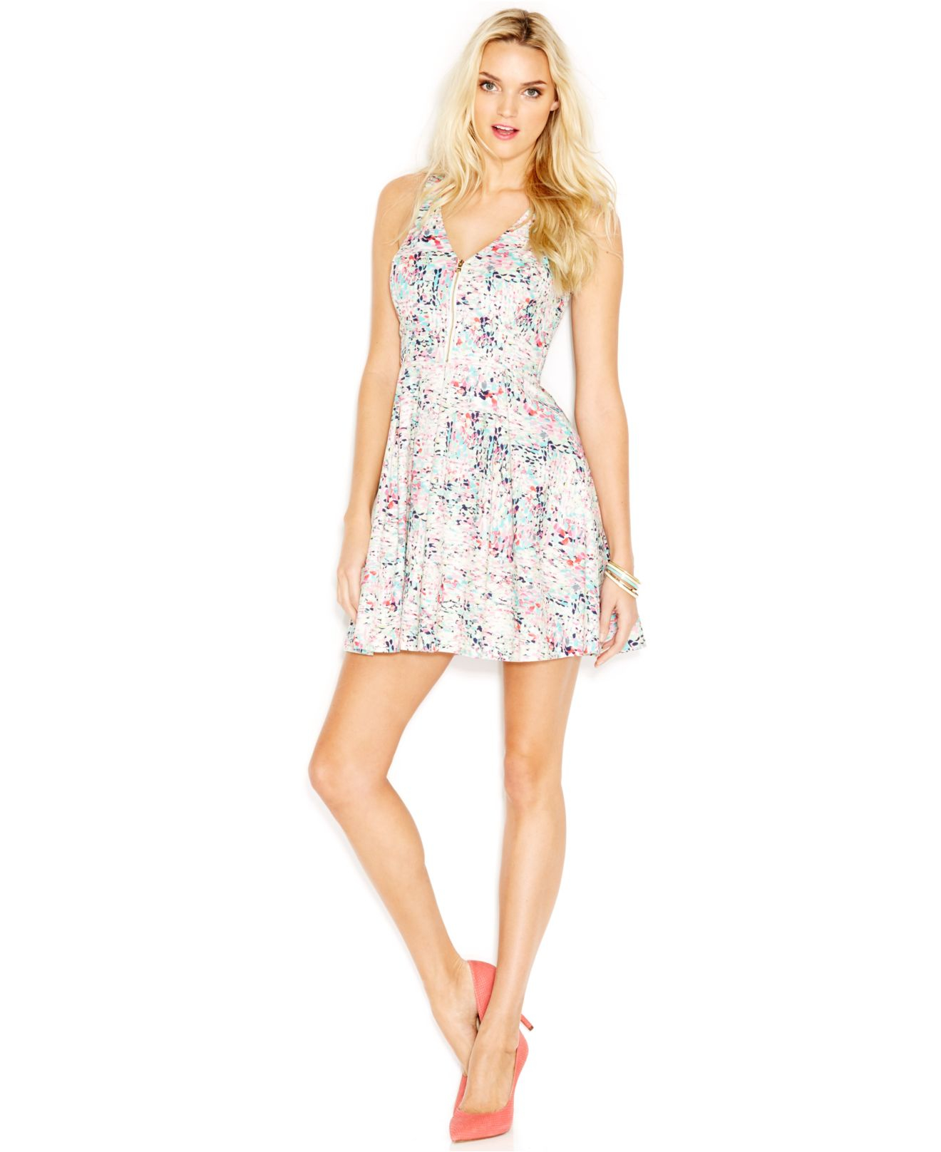 Guess Floral Print Zip Front Dress Lyst