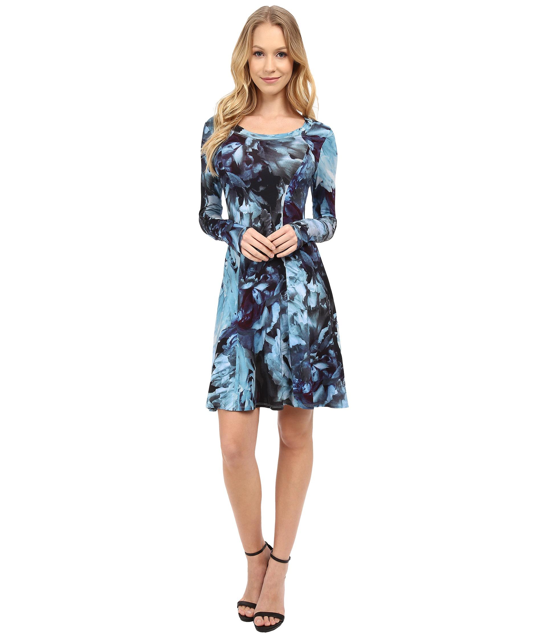 Karen Kane Sheer Diamond Tile Dress In Blue Print Save 20 Lyst