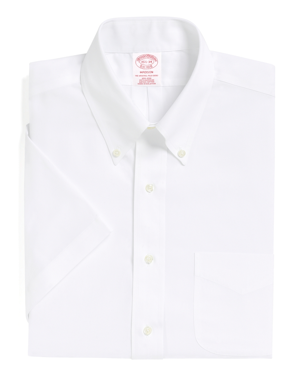 Brooks brothers non iron madison fit short sleeve dress for White non iron dress shirts