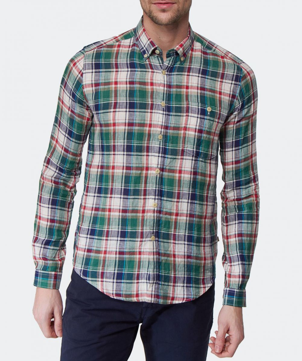 Barbour slim fit linen check william shirt in green for for Slim fit check shirt