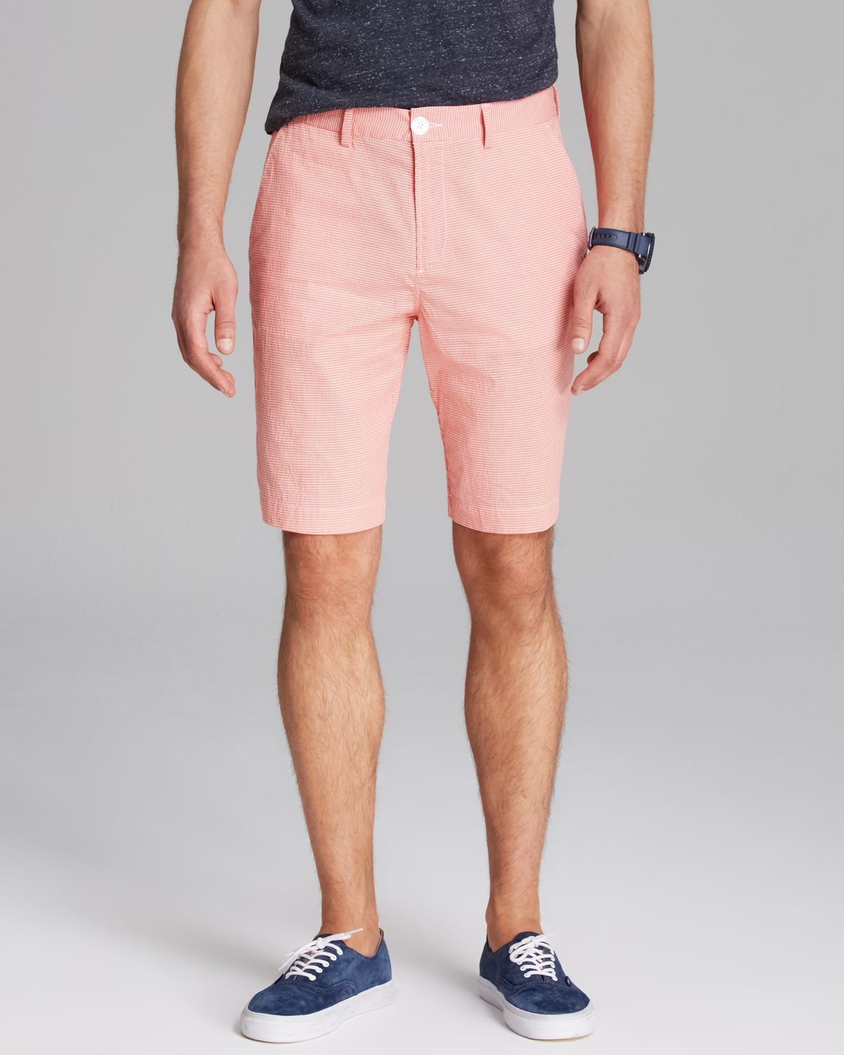 Lacoste Check Seersucker Shorts in Pink for Men | Lyst