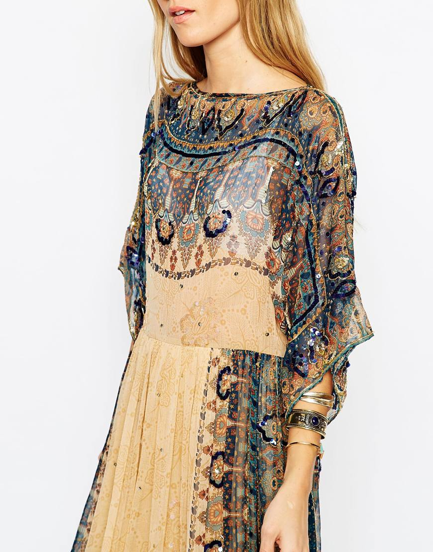 asos glam festival dress with boho beading in print brown