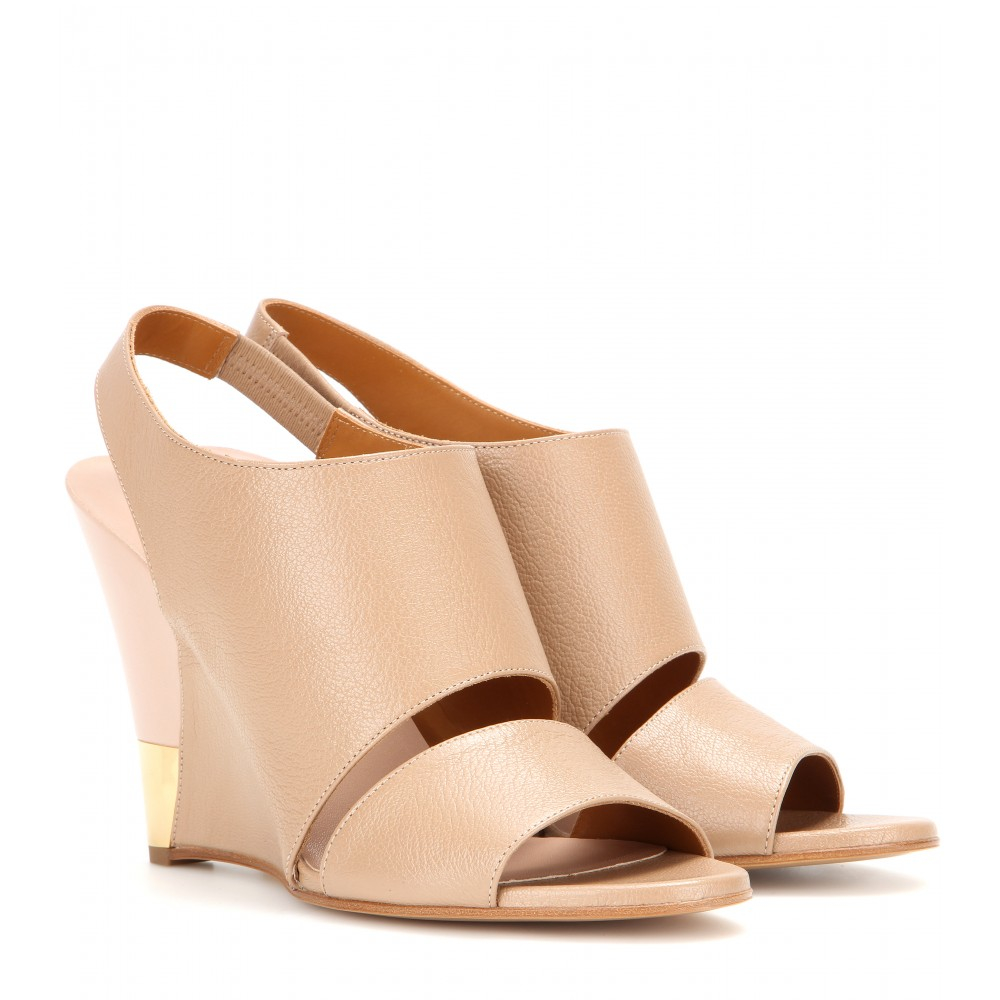 bd4f81504d1 Chloé Eliza Leather Wedge Sandals in Natural - Lyst