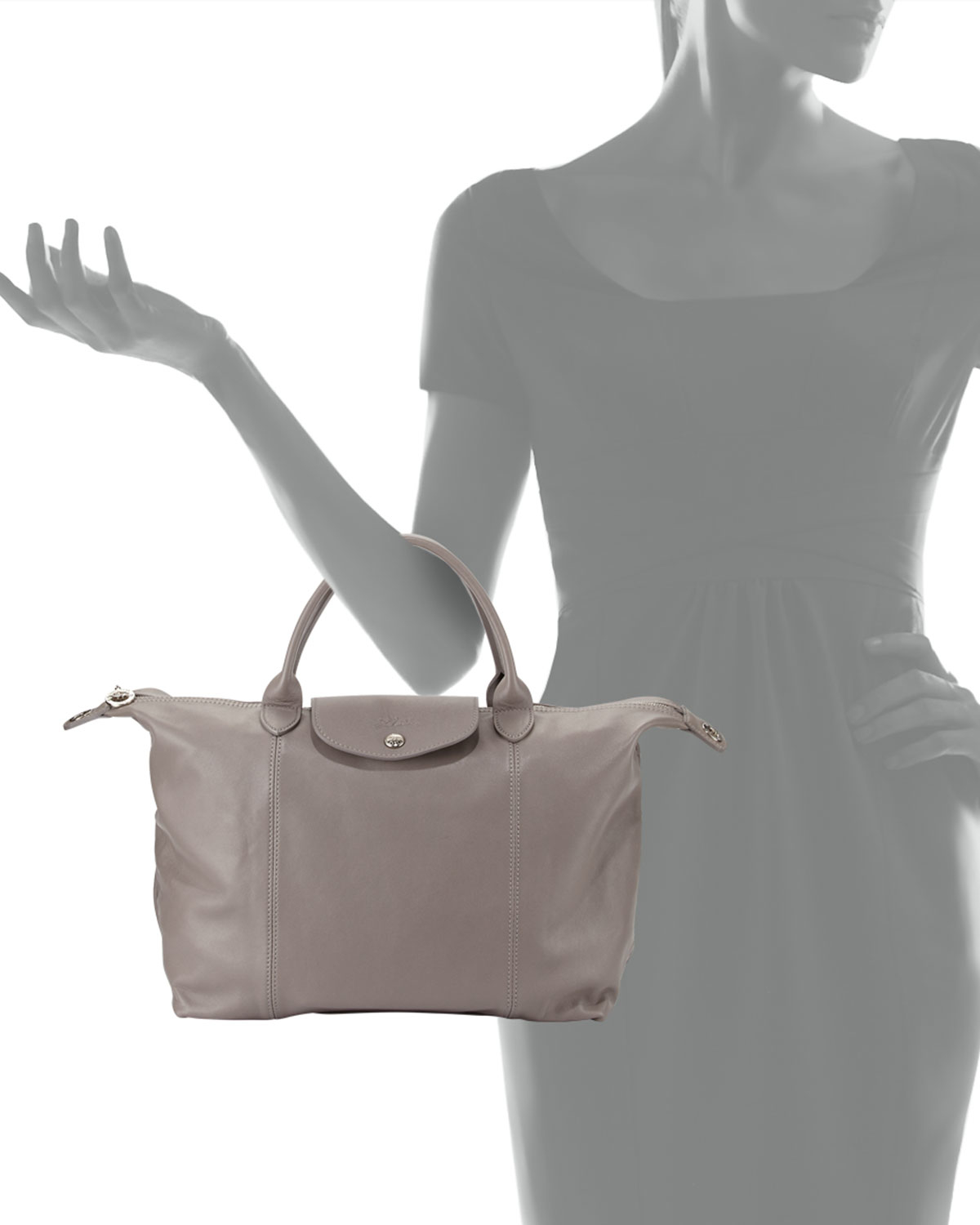 Lyst - Longchamp Le Pliage Cuir Tote Bag With Strap in Gray ee718822c0388