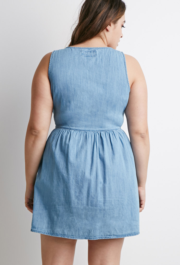 Forever 21 Plus Size Buttoned Chambray Babydoll Dress In