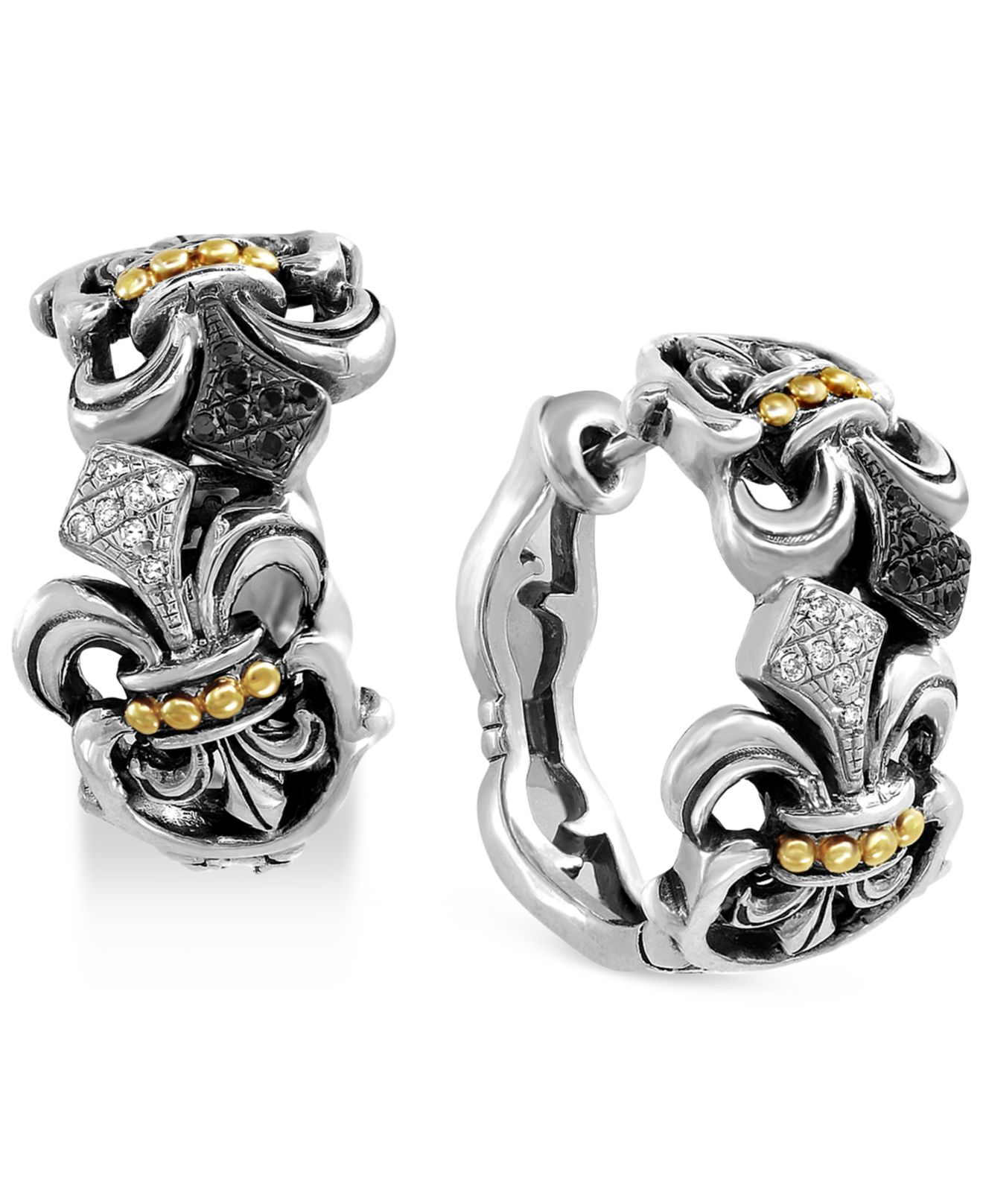 Effy Collection Balissima By Diamond Fleur De Lis Hoop