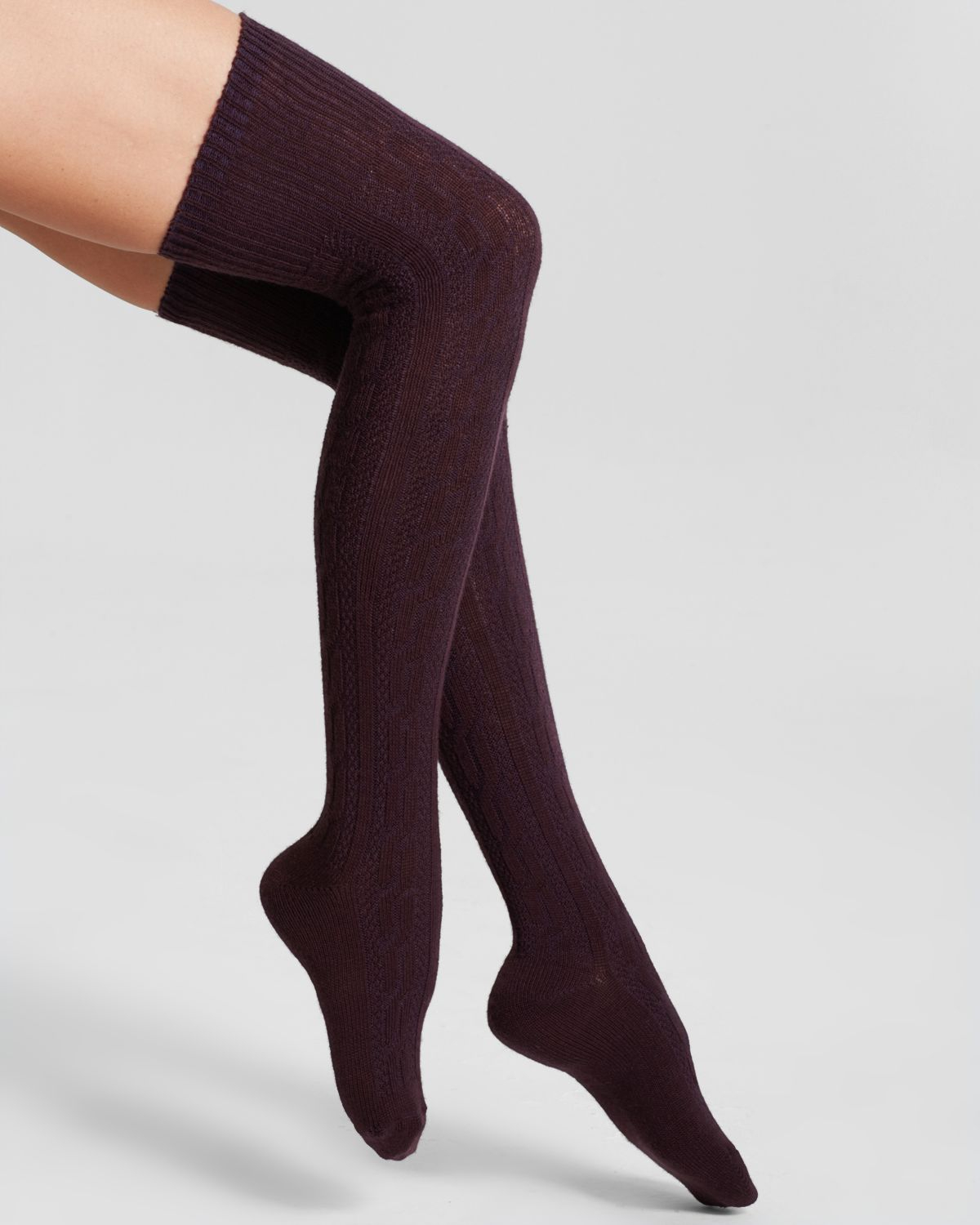95d871259 Hue Chunky Cable Knit Over-The-Knee Socks in Brown - Lyst