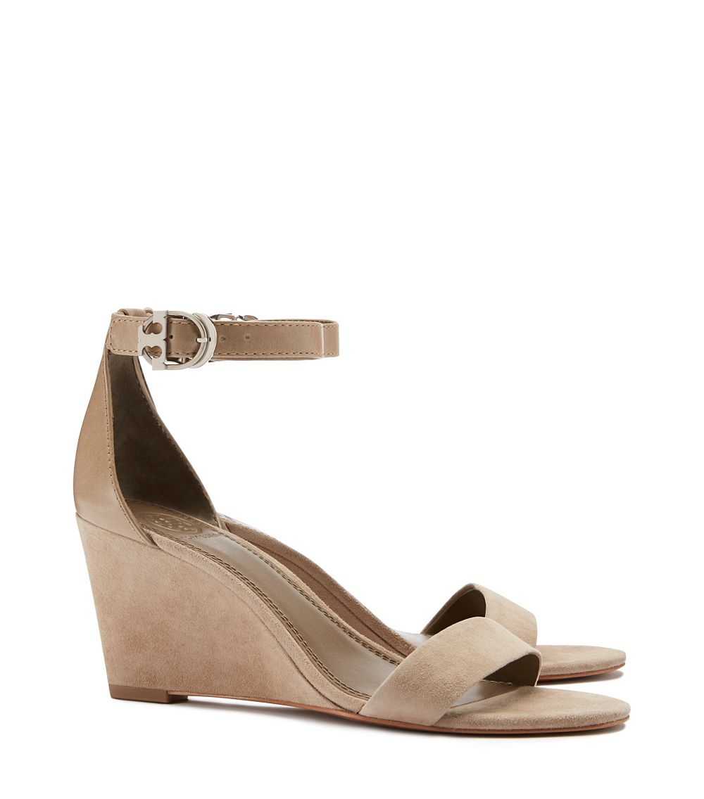 d0a8d3729a3720 Lyst - Tory Burch Thames Mid-heel Wedge Sandal in Natural
