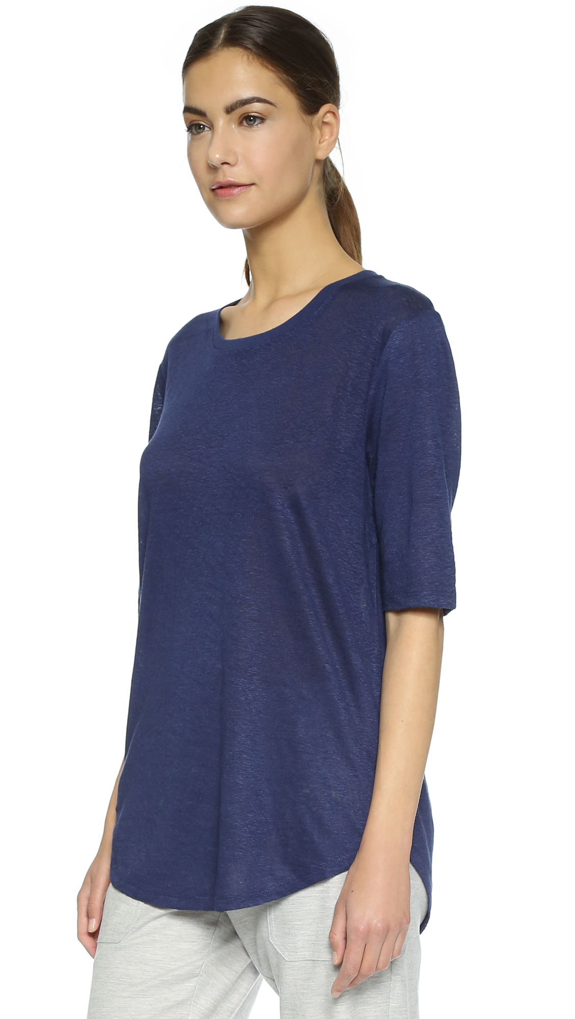 Lyst vince elbow sleeve tee blue marine in blue for Elbow length t shirts women s