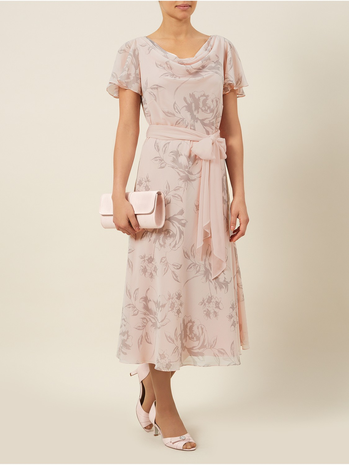 Jacques Vert Rose Print Fit And Flare Dress Lyst