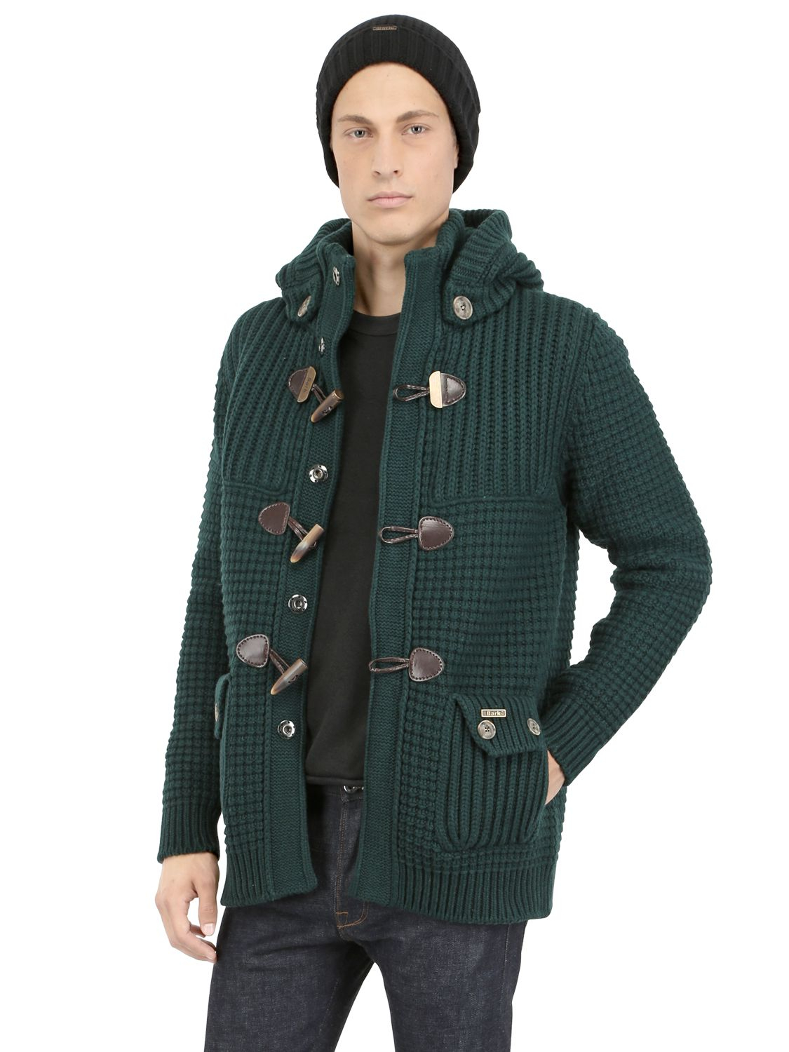 lyst bark wool blend duffle coat in green for men. Black Bedroom Furniture Sets. Home Design Ideas