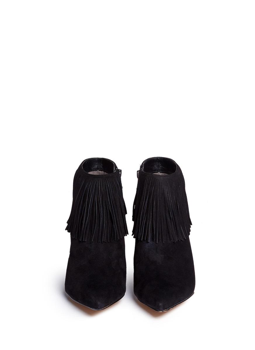 da42d110d Lyst - Sam Edelman  kandice  Fringe Suede Ankle Boots in Black