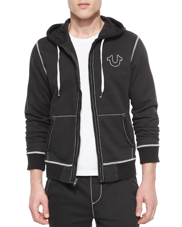 true religion contrast stitch hoodie in black for men lyst. Black Bedroom Furniture Sets. Home Design Ideas