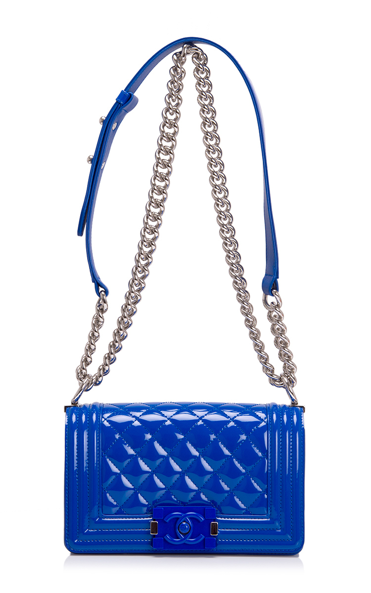 f4d040d9ff59 Lyst - Madison Avenue Couture Chanel Blue Marine Quilted Patent Small Boy  Bag in Blue