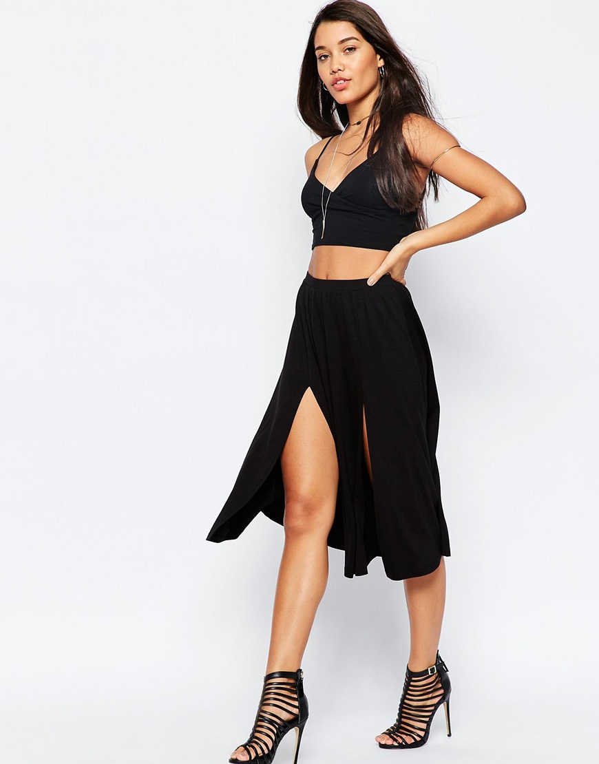 asos midi skirt with splices in black lyst