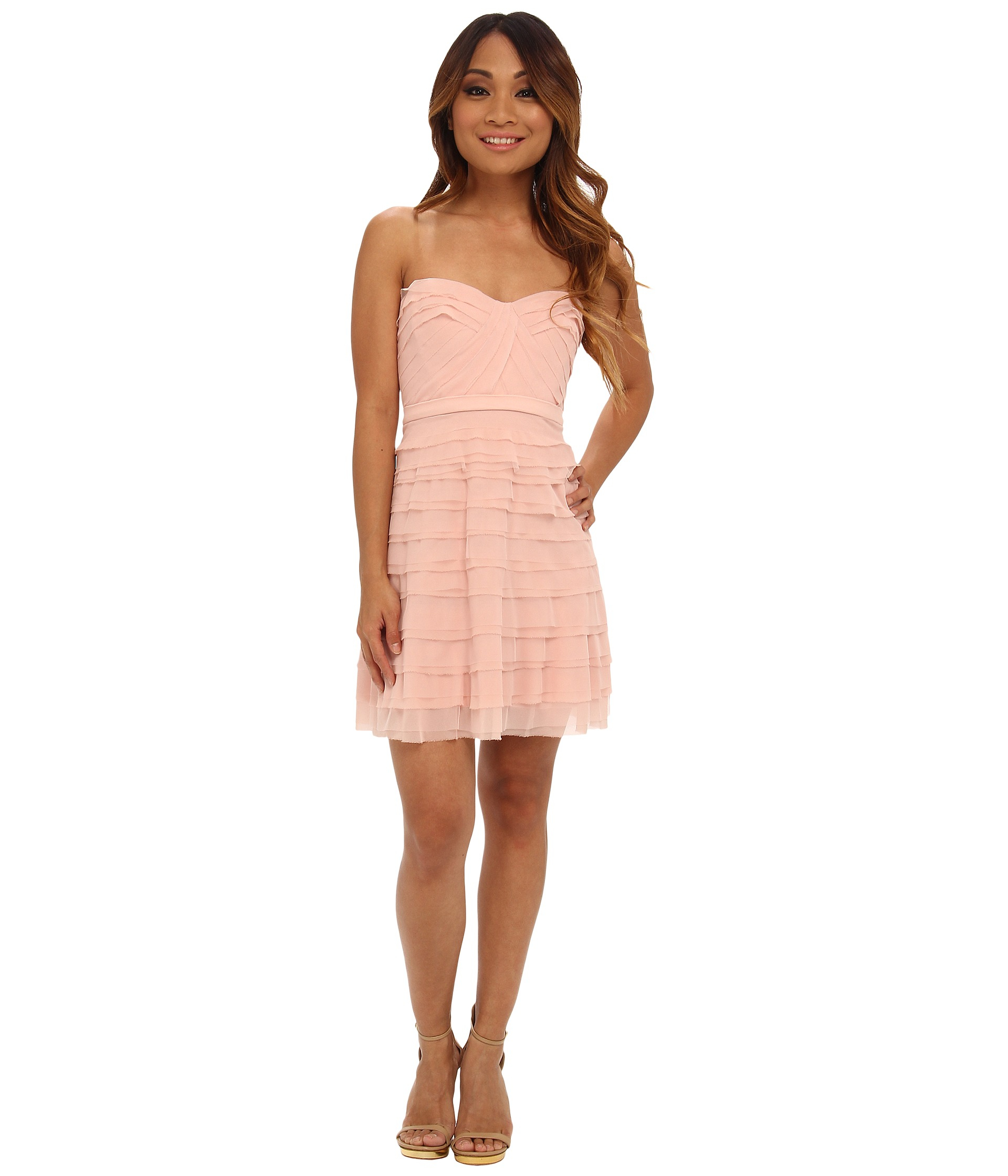 Bcbgmaxazria Petite Cocco Tiered Strapless Dress in Pink | Lyst