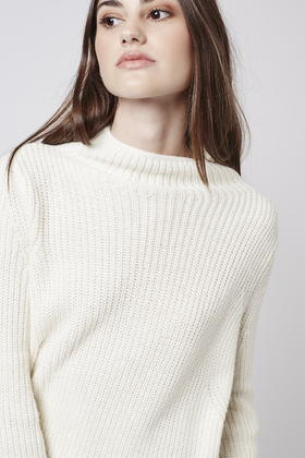 Topshop Ribbed Swing Sweater in Natural | Lyst