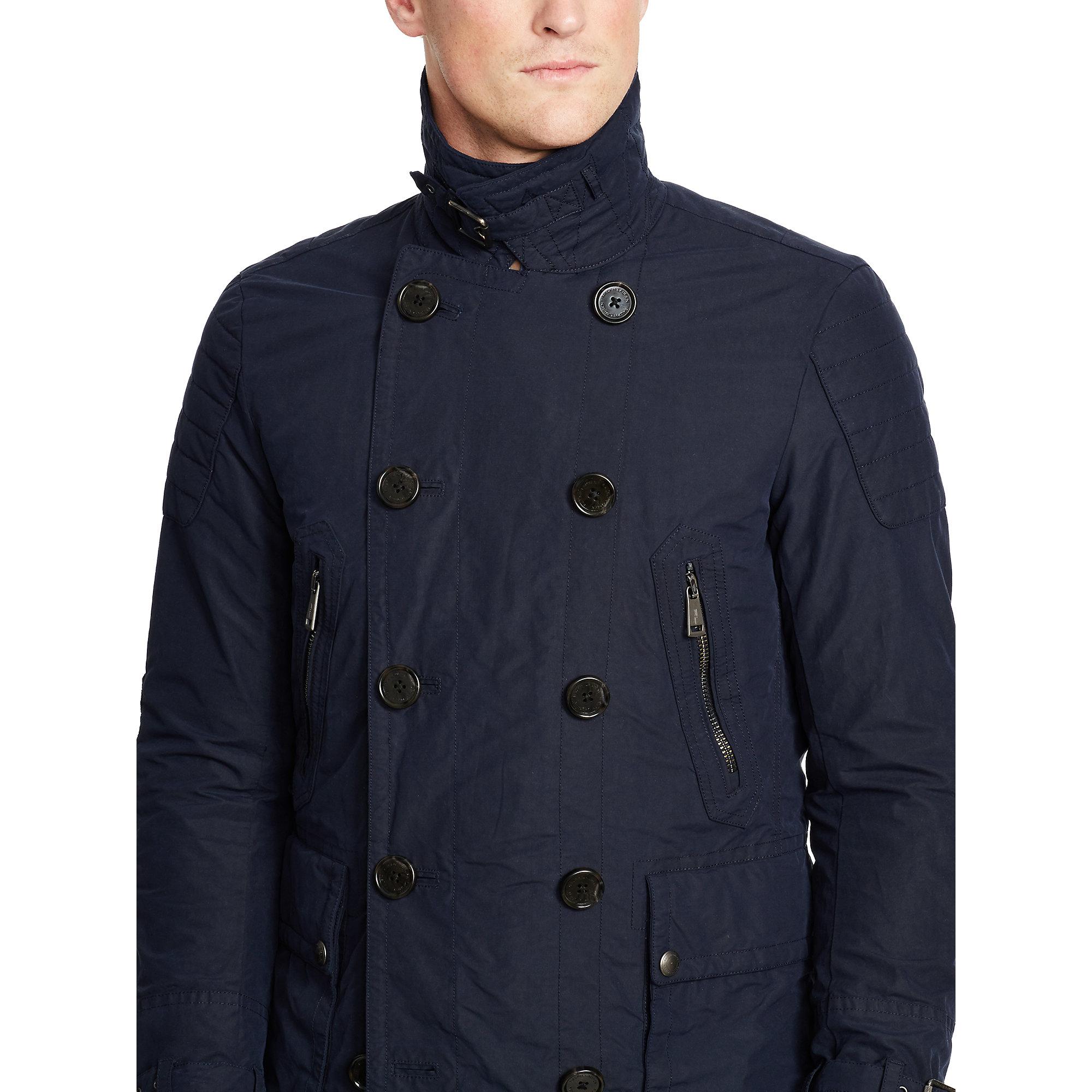 Polo Ralph Lauren Moto Cotton Blend Pea Coat In Blue For