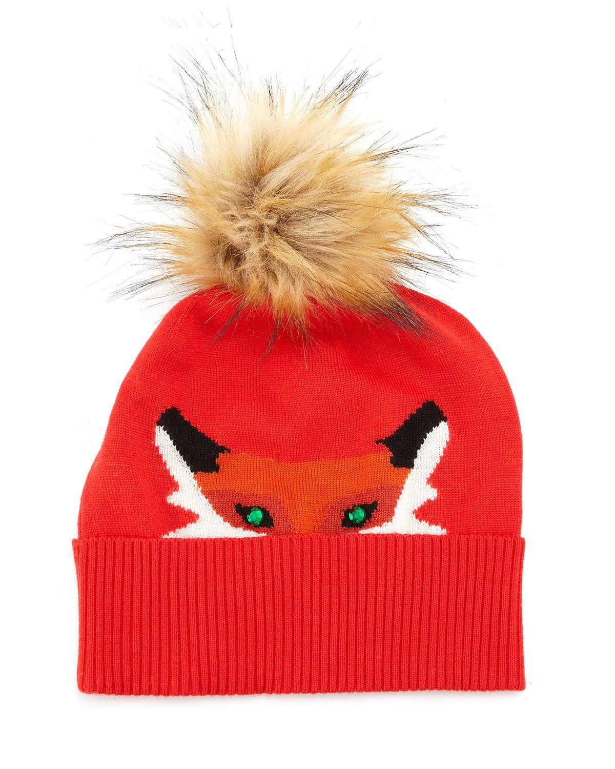 6b34827a31861 Kate Spade Fox Beanie Hat With Rhinestone Detail in Red - Lyst