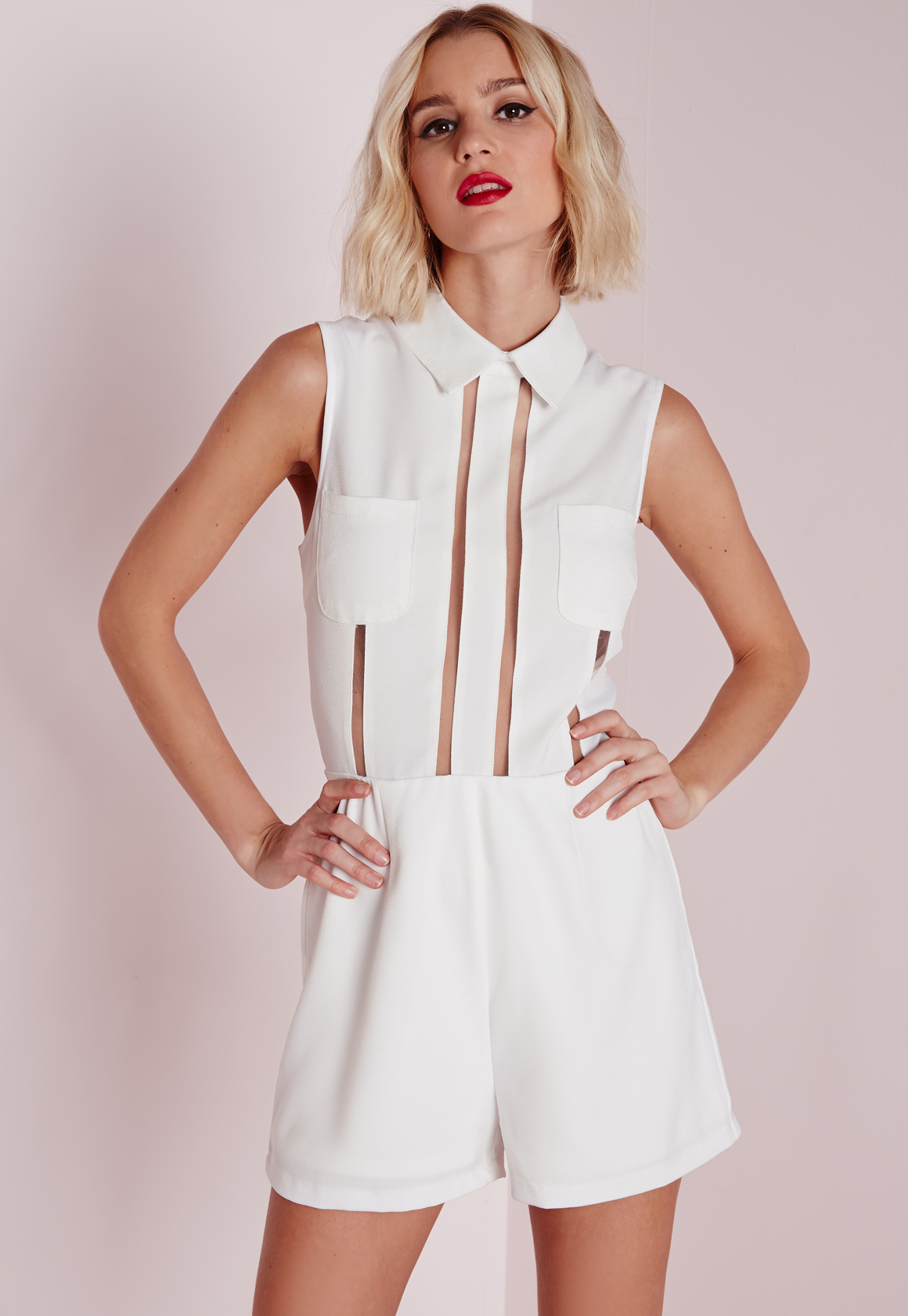 5b90915b353 Lyst - Missguided Mesh Stripe Collared Playsuit White in White