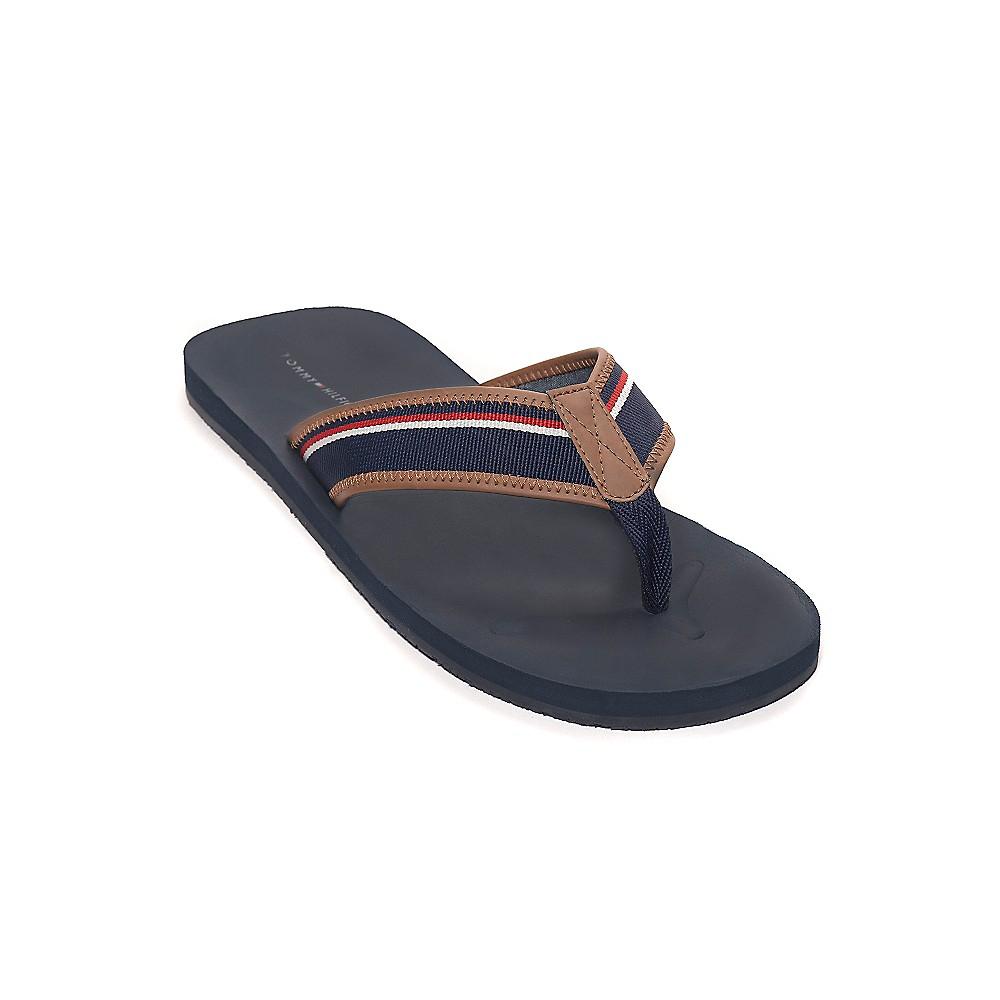 tommy hilfiger sport flip flop in brown for men cognac navy white lyst. Black Bedroom Furniture Sets. Home Design Ideas