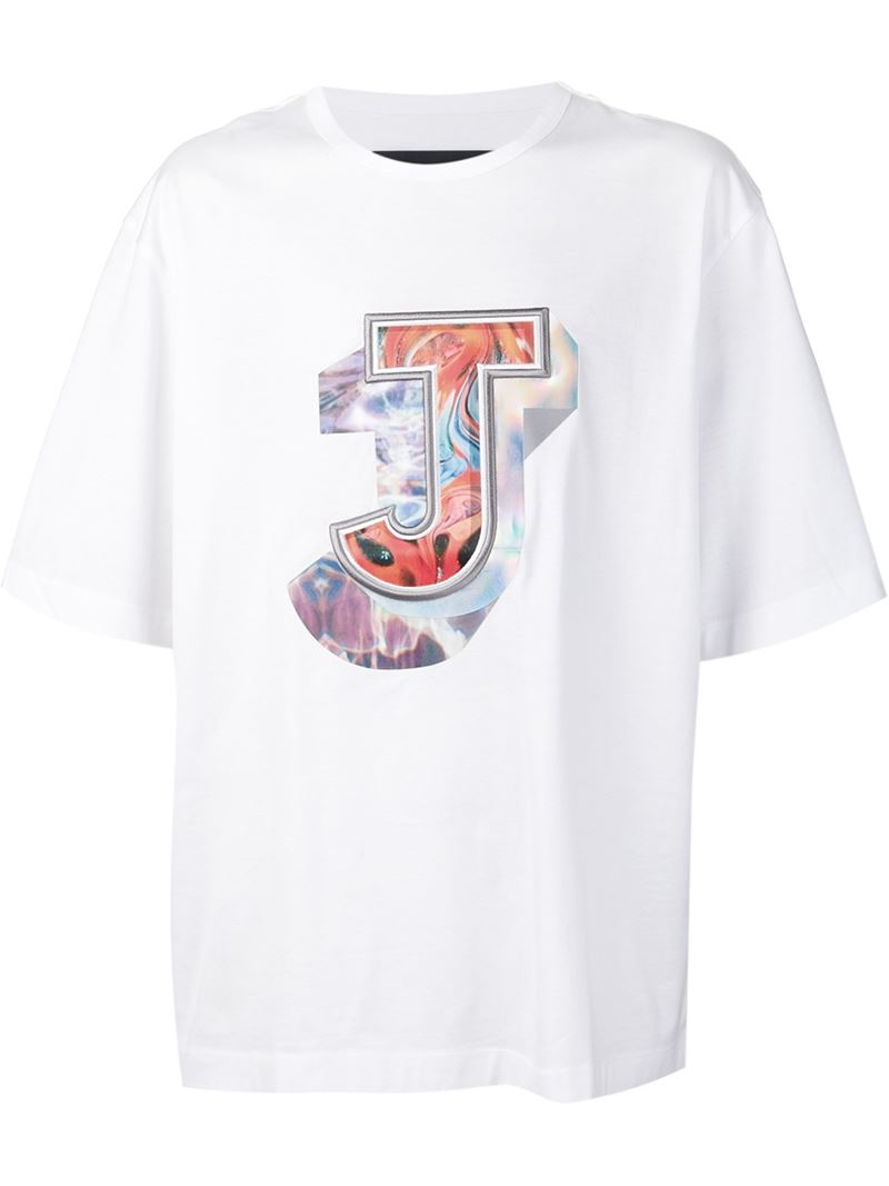 Lyst juun j printed and embroidered logo t shirt in for Embroidered logos on shirts