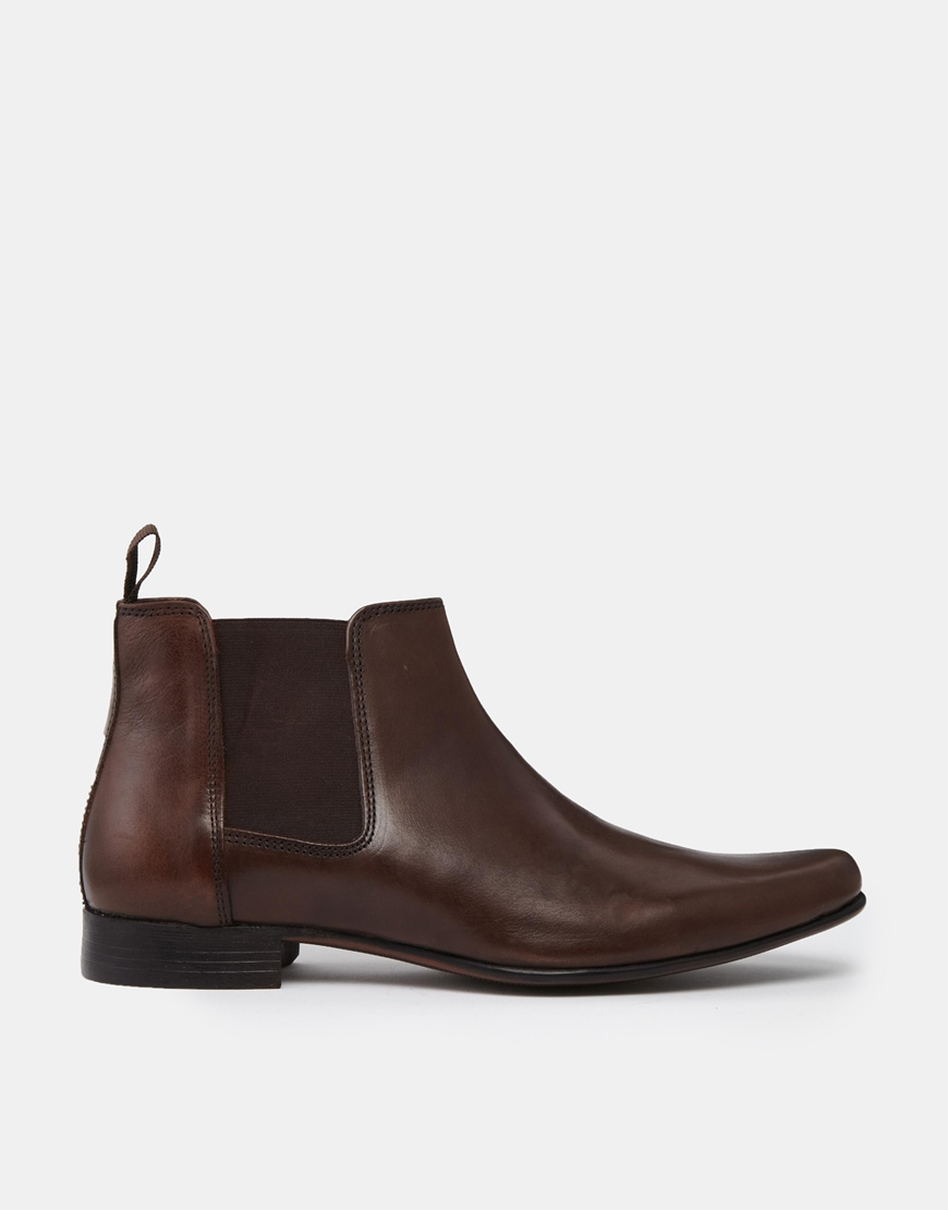 asos chelsea boots in brown leather with back pull in