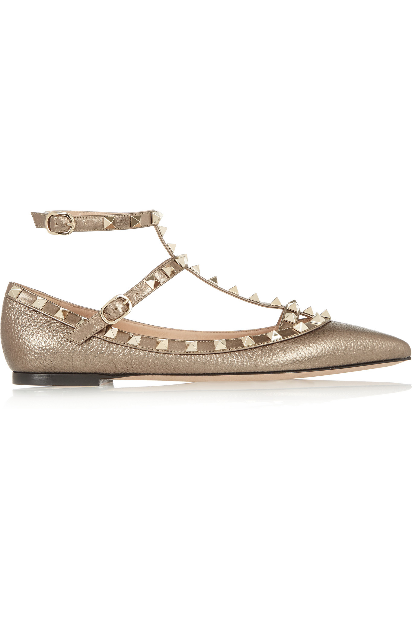 7a6ca83d950e Valentino Rockstud Metallic Textured-leather Point-toe Flats in ...