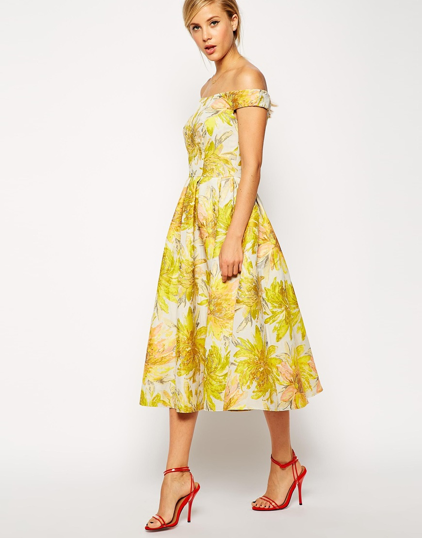 Lyst asos sunflower bardot midi prom dress in yellow for Yellow dresses for wedding guests