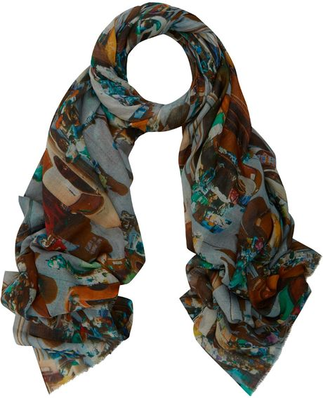 tilo multicolour market place print scarf in multicolor