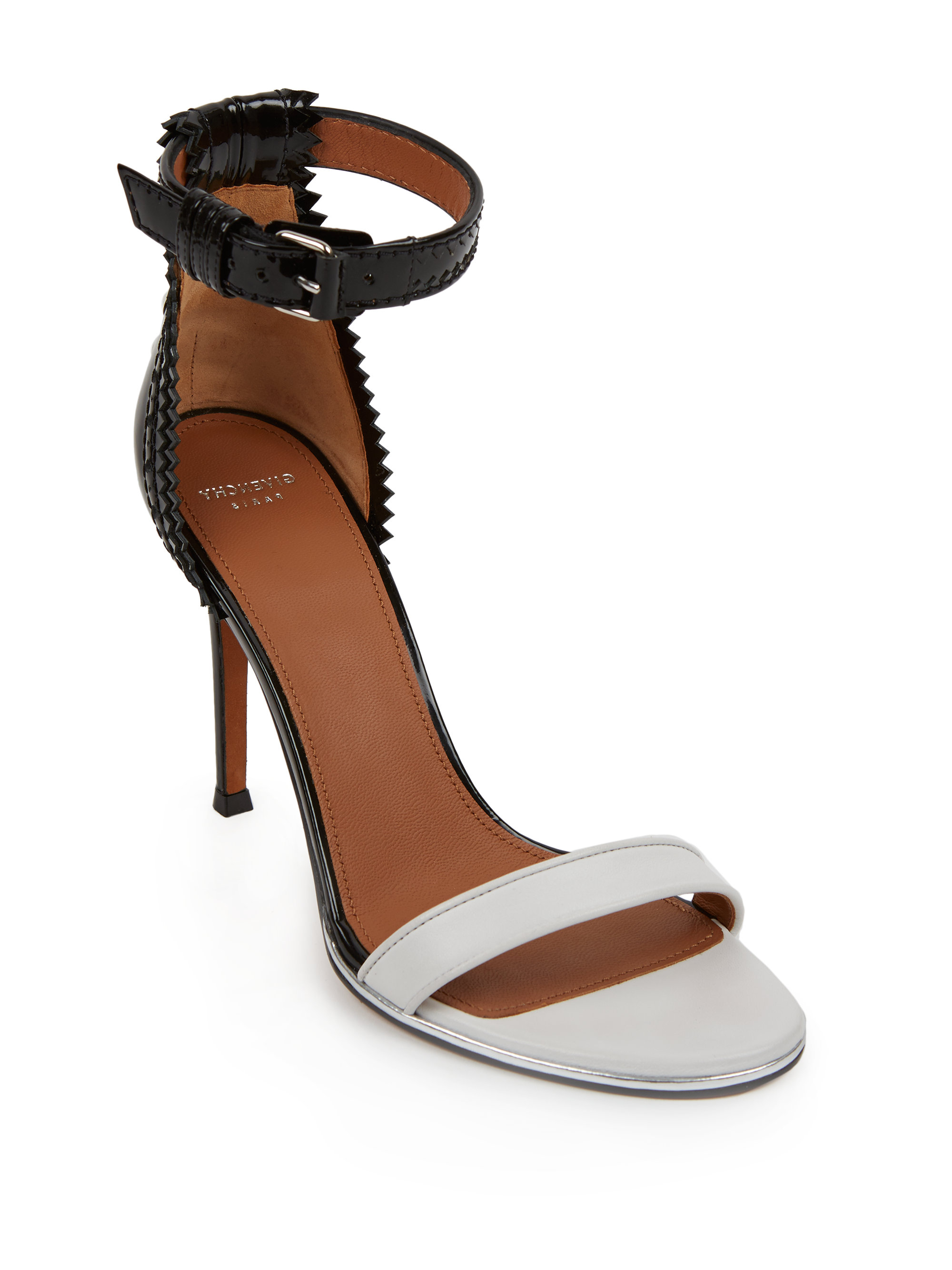 Givenchy Nadia Laced Back Patent Leather Sandals In Black