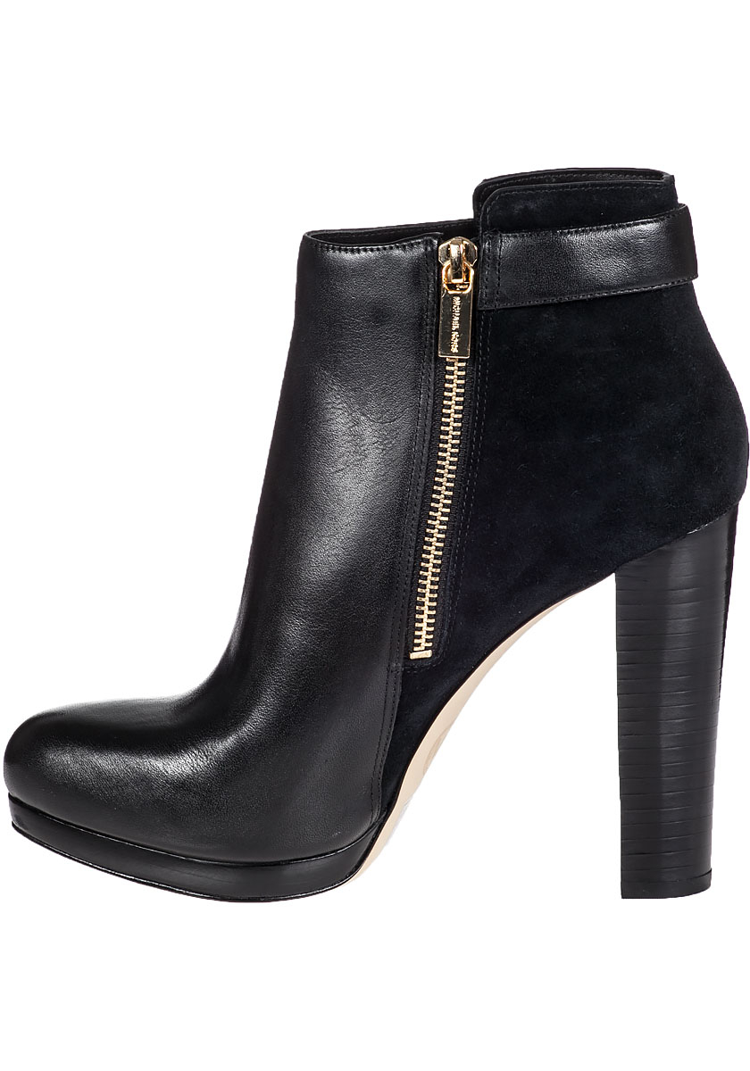 michael michael kors cidney ankle boot black leather in