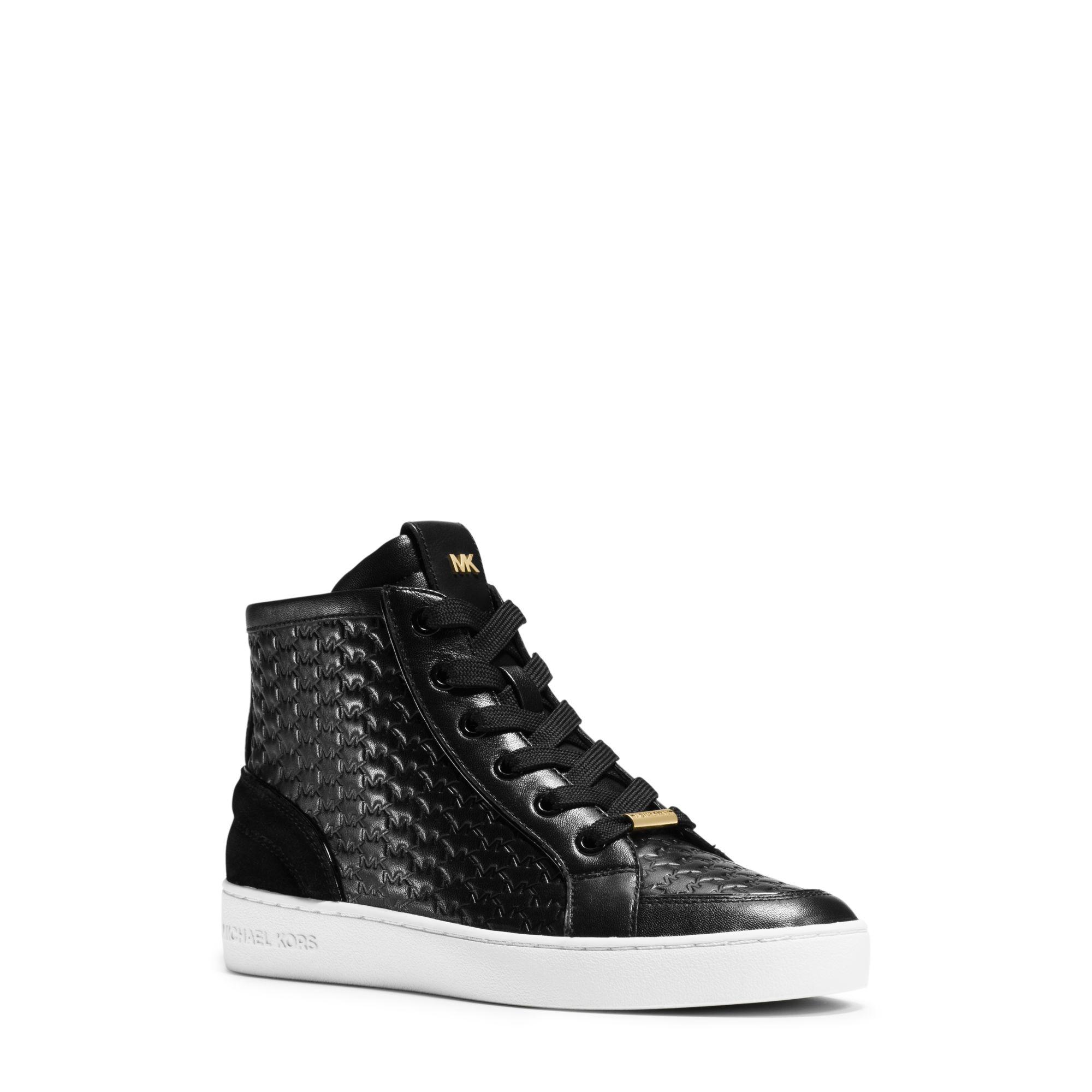 michael kors colby embossed high top sneakers in black lyst. Black Bedroom Furniture Sets. Home Design Ideas