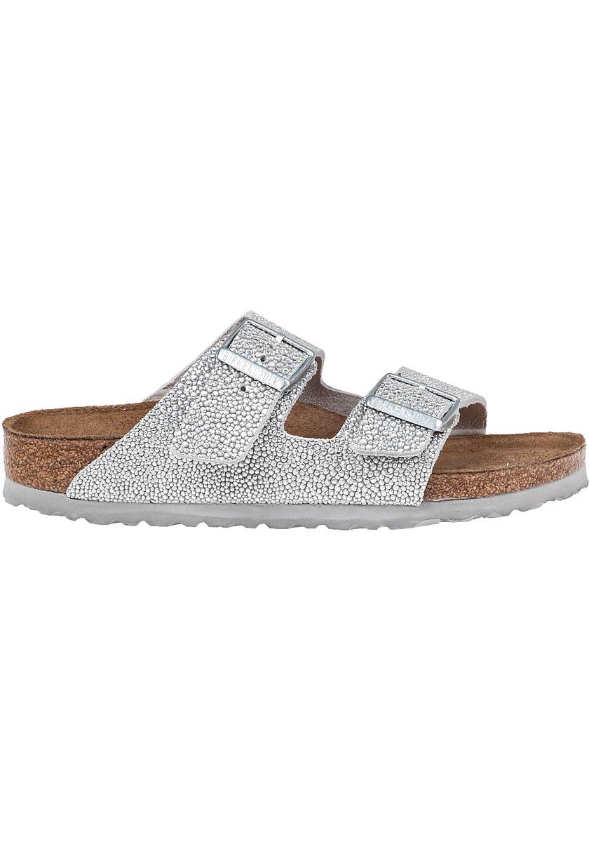 06c702e15cb3 Lyst - Birkenstock Arizona Pebbled-Leather Sandals in Metallic