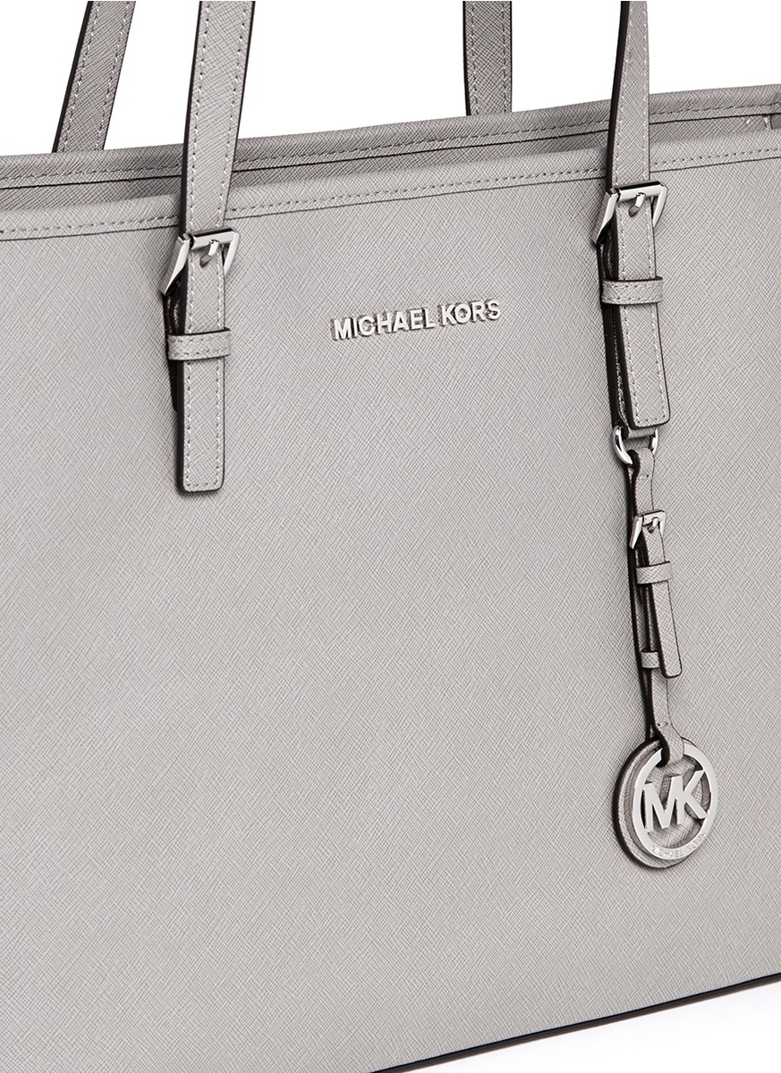 852b74327f1341 Michael Kors 'jet Set Travel' Saffiano Leather Top Zip Tote in Gray ...
