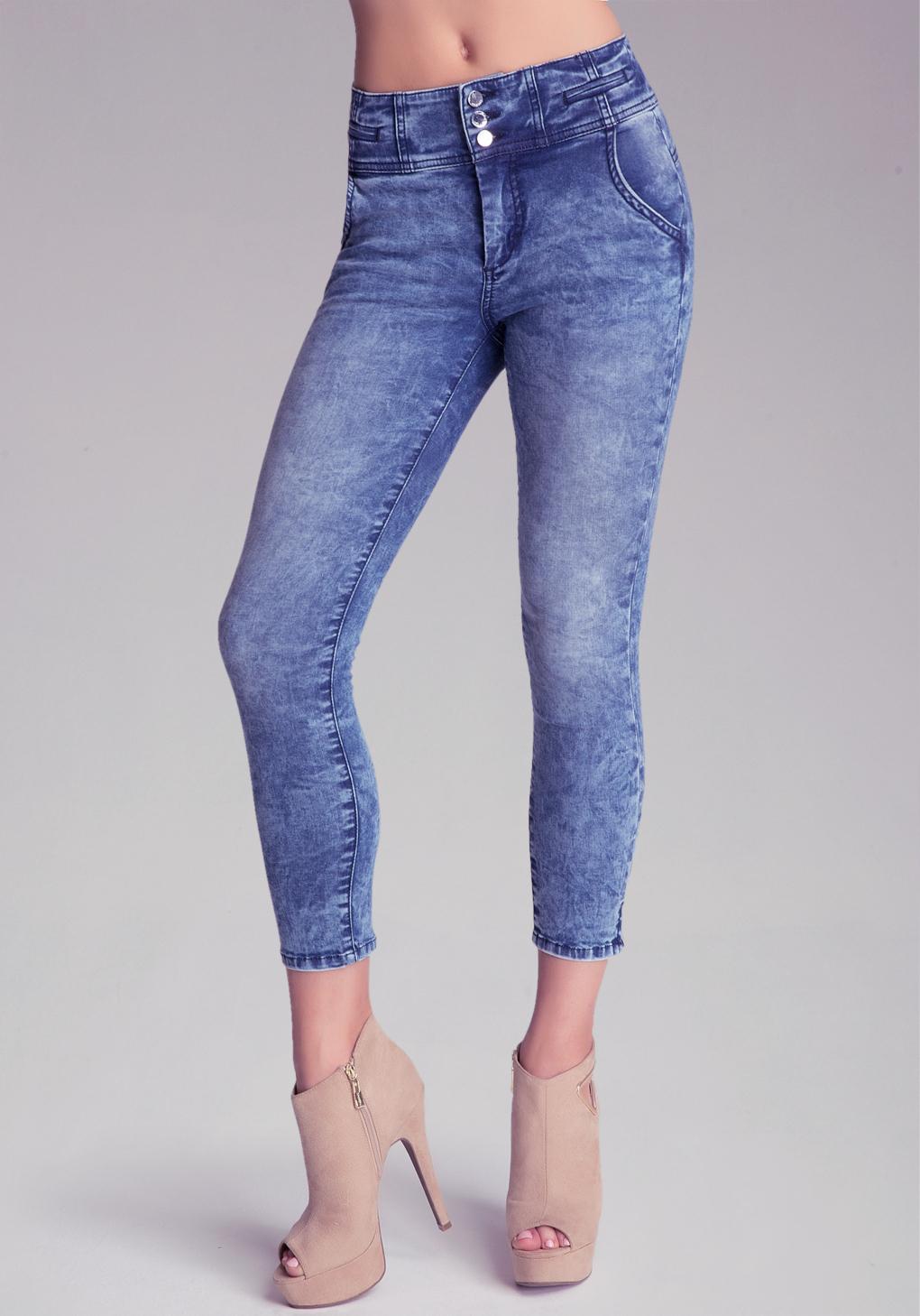 Bebe High-Waist Tux Capri Jeans in Blue | Lyst