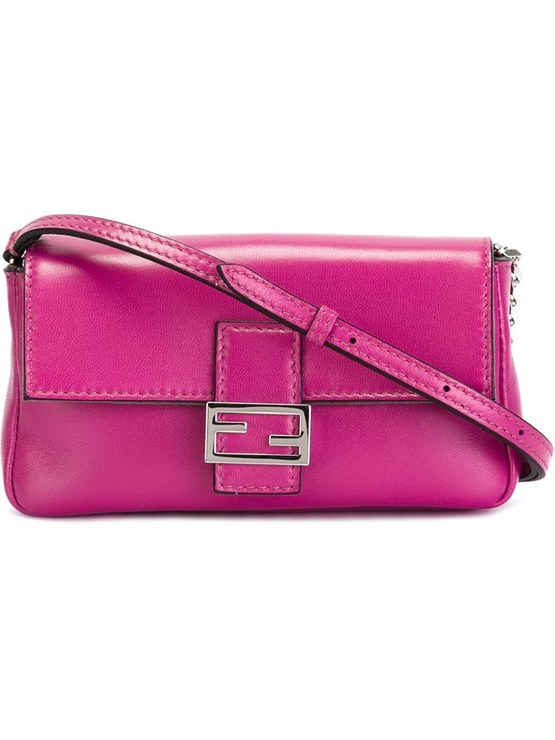 Fendi Leather Micro Baguette Cross-Body Bag in Pink & Purple (Pink)