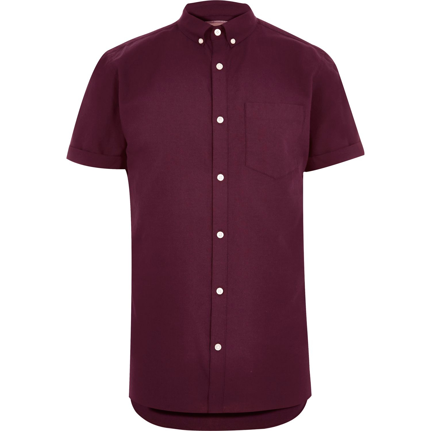 River island red casual short sleeve oxford shirt in red for Mens short sleeve oxford shirt