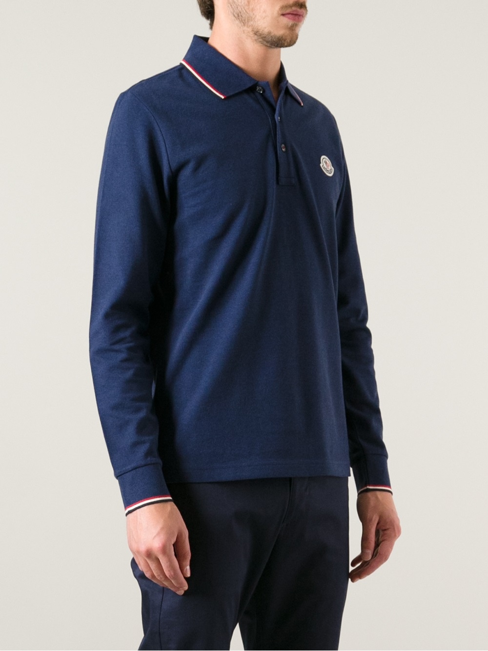 88ac2d18a Moncler Long Sleeve Polo Shirt in Blue for Men - Lyst