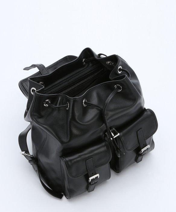 9f4c76f0139b ... real lyst prada black leather buckled backpack in black c4d1b 8ac84