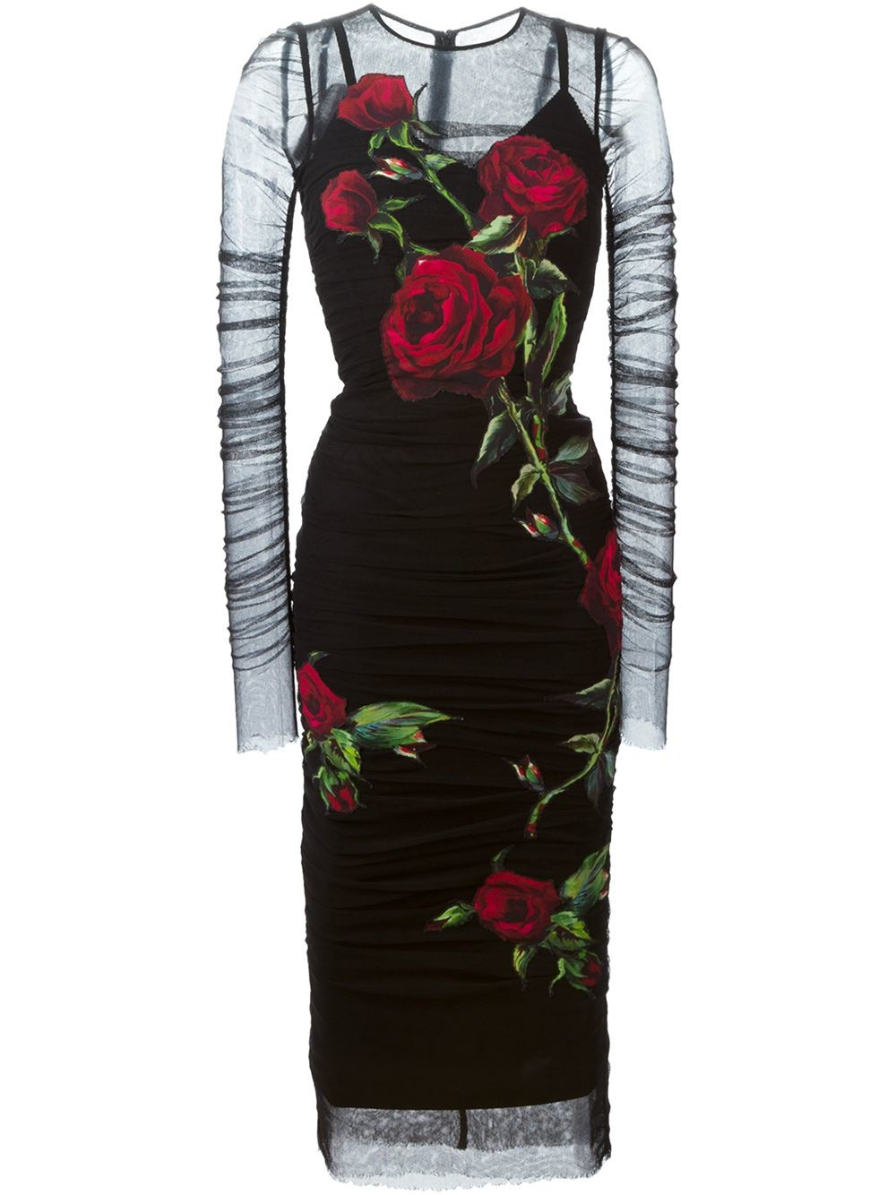 486823f7081 Dolce   Gabbana Rose Patch Tulle Dress in Black - Lyst